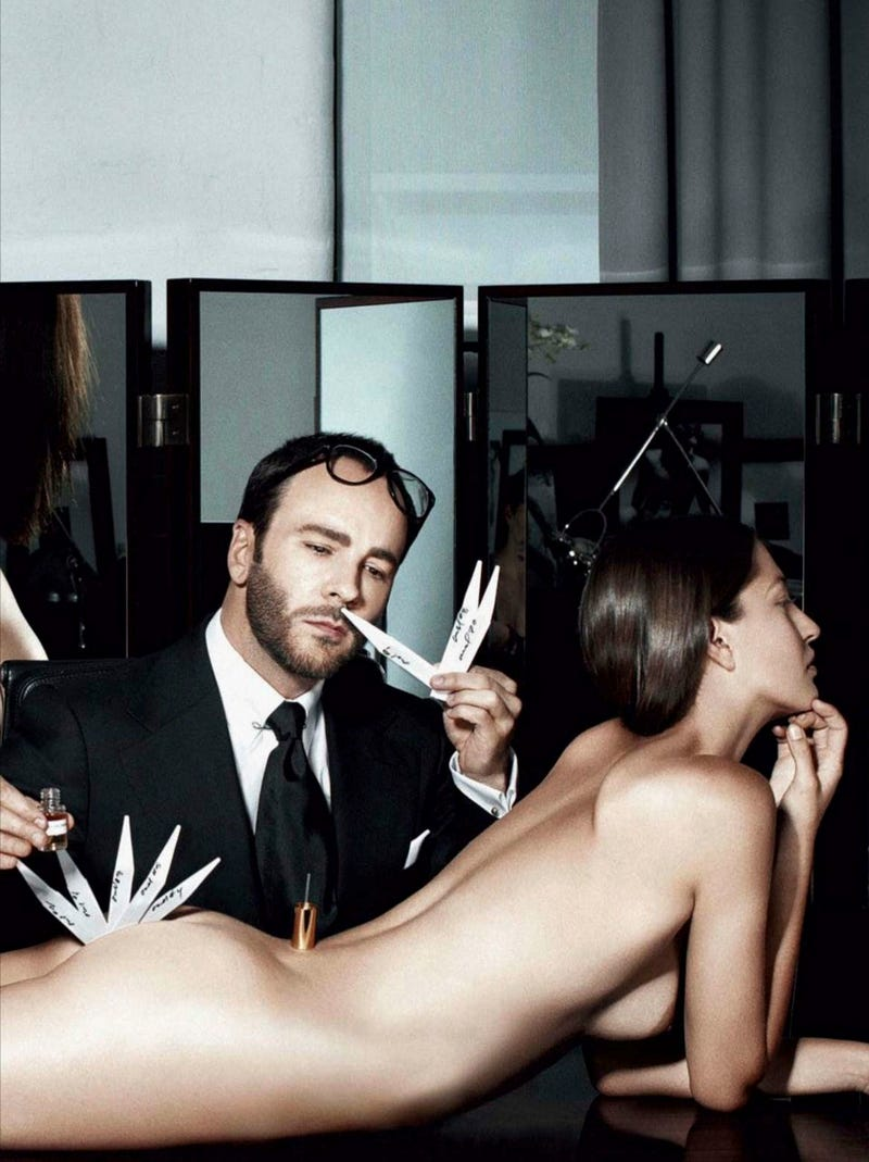 Here Is A Photo Of Tom Ford Pulling Fragrance Strips Out Of A Naked Woman's Ass