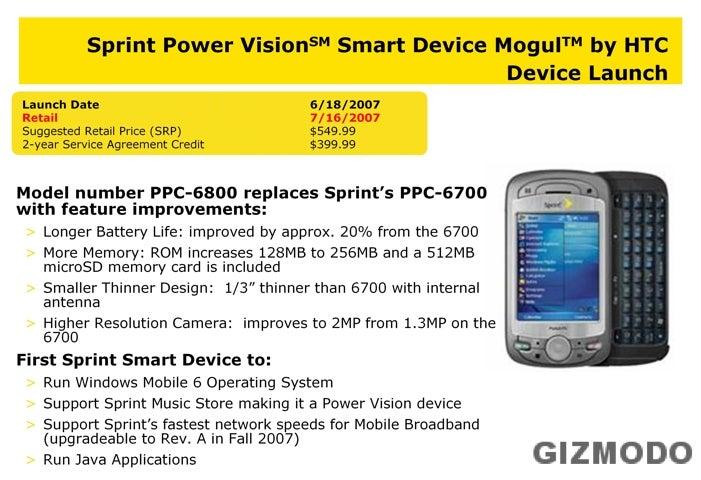 Unconfirmed: Sprint's HTC Mogul Launches June 18