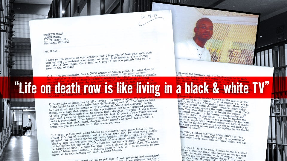 essay from a texas death row inmate Essay writing death row inmate | death penalty, crimes, murder | � which punishment is crueler, life in prison or the death penalty this is an issue that ma.