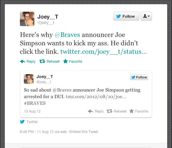 It Sounds Like Braves Broadcaster Joe Simpson Wants To Beat Up Someone On Twitter