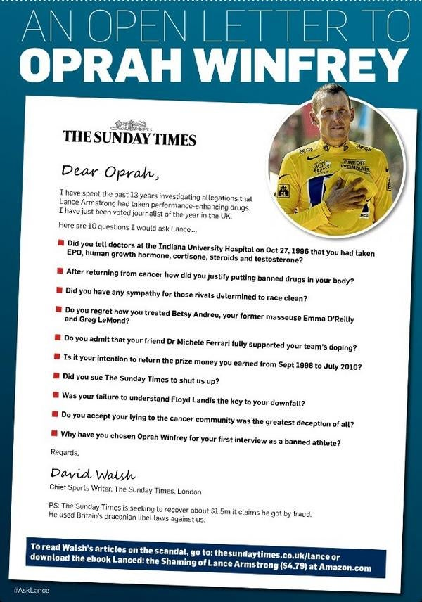 The Sunday Times Put An Ad In The Chicago Tribune About What Questions Lance Armstrong Should Answer On Oprah