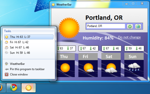 WeatherBar Integrates Weather Forecasts with the Windows 7 Superbar