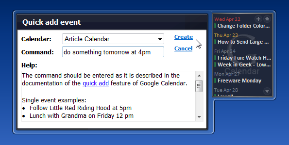 Google Calendar Agenda Puts Your Schedule in the Vista Sidebar
