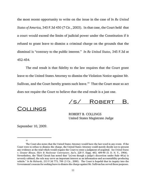 Court Memorandum on Dismissal of Andrew Sullivan's Marijuana Case