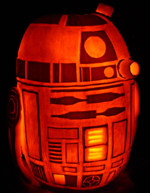 The amazing R2D2 pumpkin, from the creator of the Death Star pumpkin!