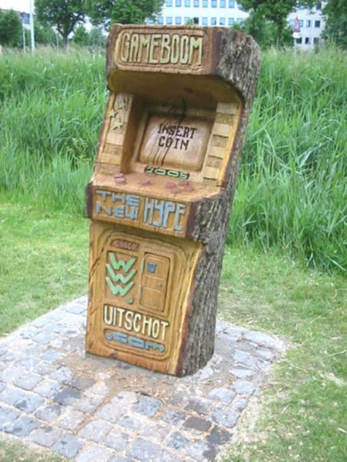 Dutch Arcade Cabinet Carved From a Tree