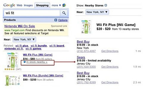 Google Mobile Search Reveals What's In Stock Nearby