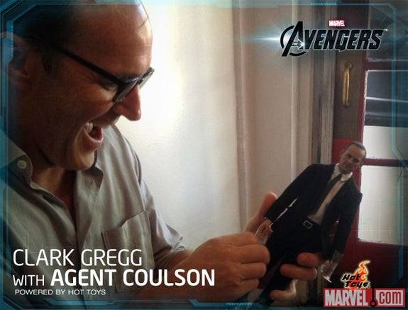 Agent Coulson holding Action Figure Coulson will warm your heart