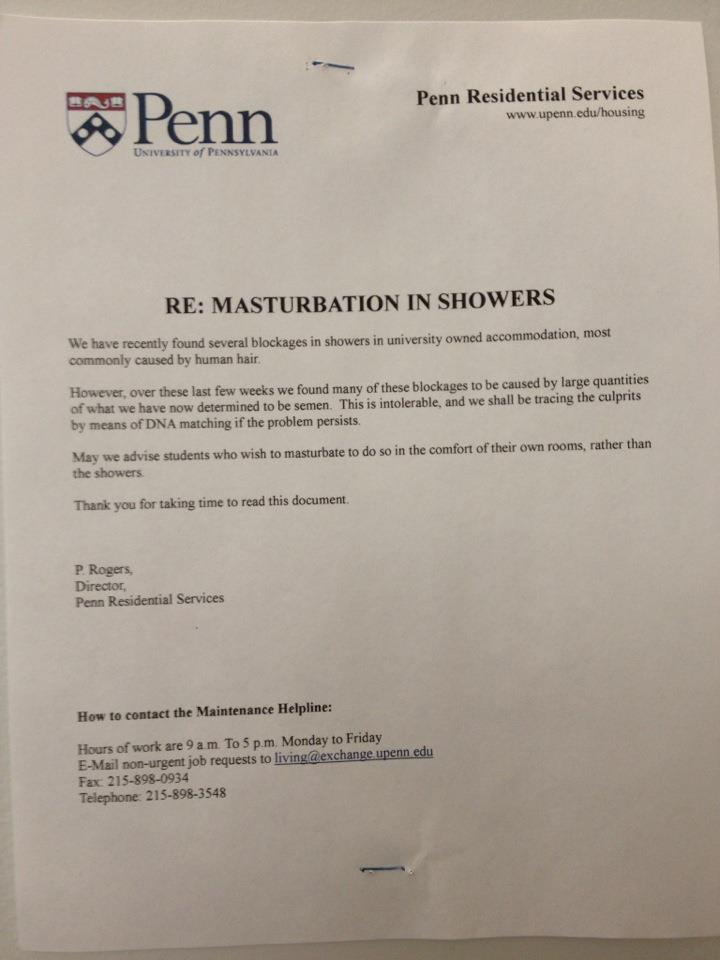 Penn Does Not Have a Problem With Semen-Clogged Showers