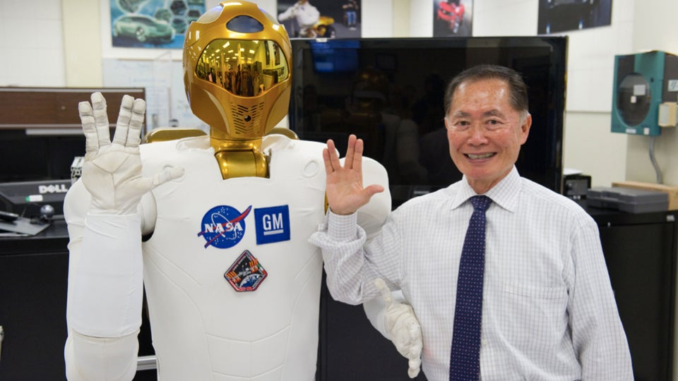 George Takei and Robonaut 2 flash the Vulcan salute in support of LGBT and Asian American inclusion