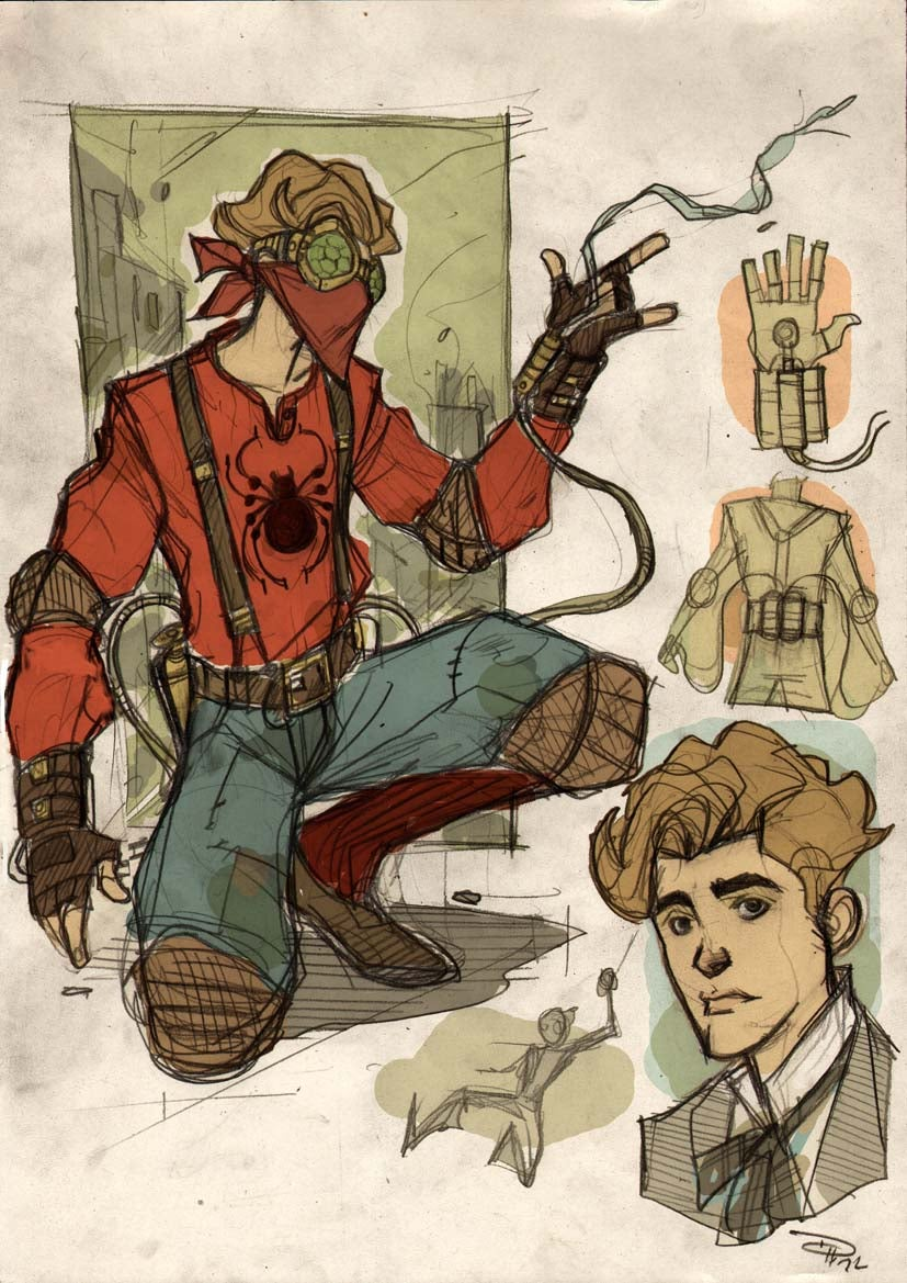 Steampunk Spider-Man and his nemesis, Victorian-era Doctor Octopus