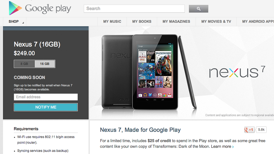 Google's Stopped Selling 16GB Nexus 7 Tablets Because They're Too Popular