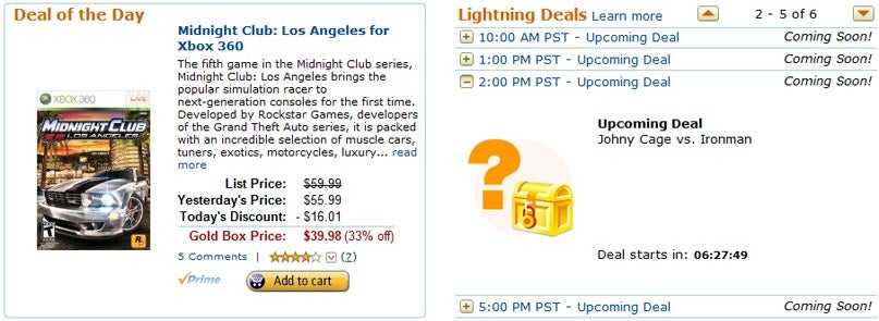 Amazon Gold Box Deals Pit Johnny Cage Vs. Iron Man