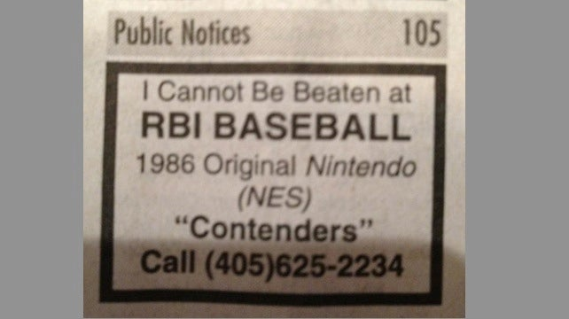 Call This Number If You Think You Can Beat Some Guy In R.B.I. Baseball