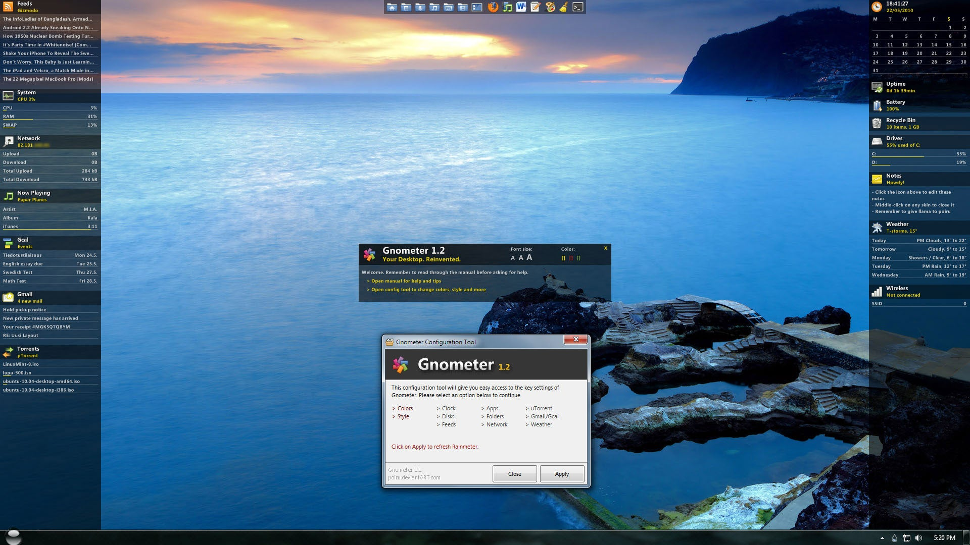 Rainmeter 1.2 Includes New Default Skin, Better Windows 7 Support