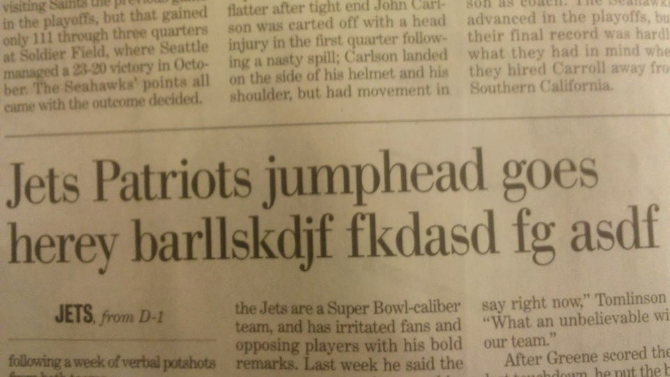 Jets-Patriots Game Was 'barllskdjkf,' According to Paper