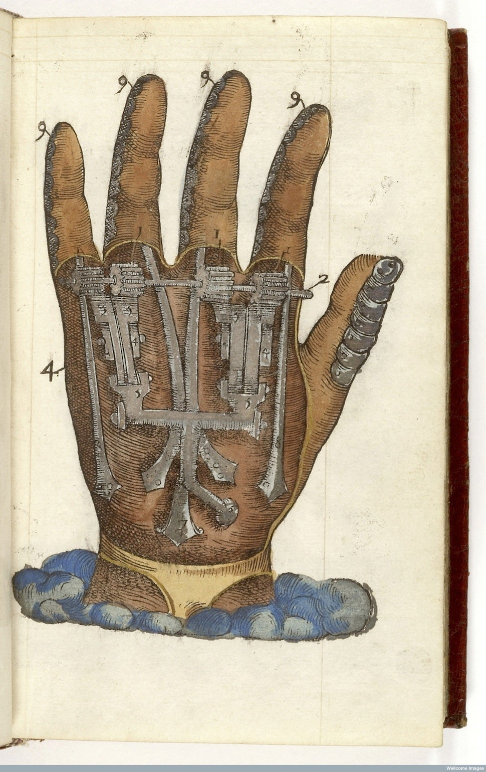 cutaway of a hand with metal workings shown inside