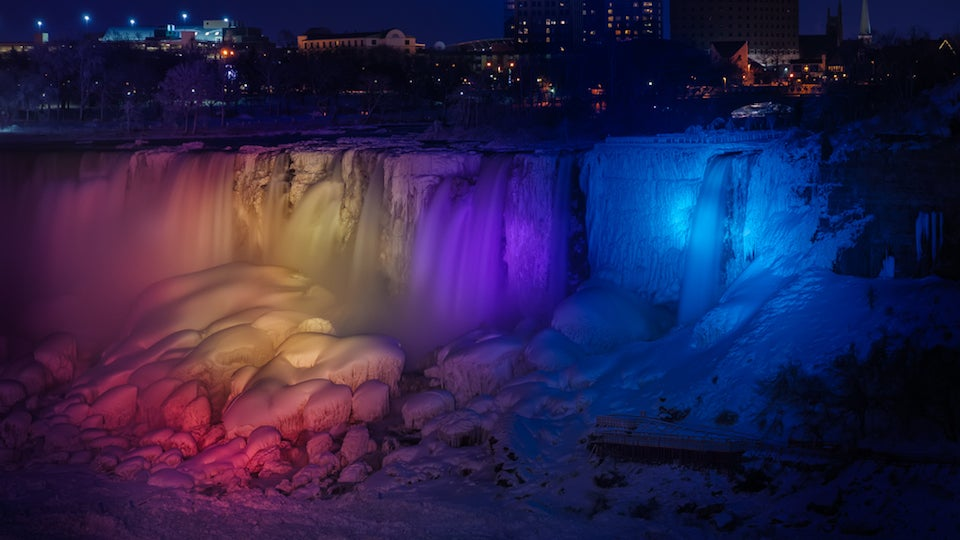 A frozen Niagara Falls light show looks like a magical wonderland