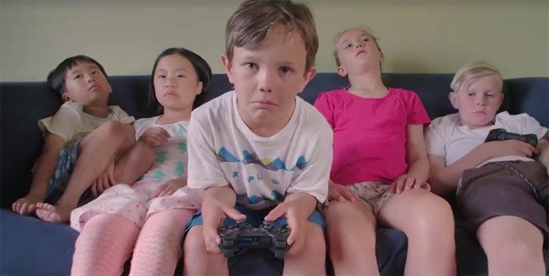 acting ads boredom children fake-gamers kids sadness