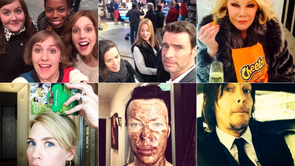 Selfie Loathing: January Jones Balances Girl Scout Cookies on Her Head
