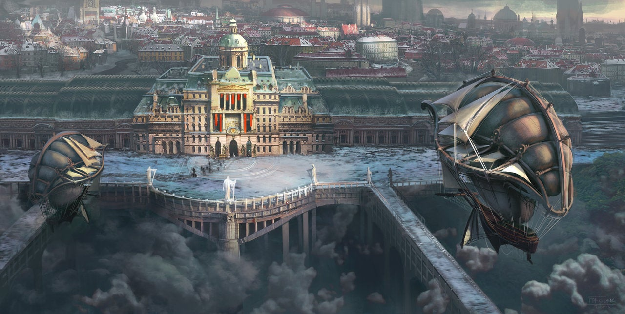 The elevated city could only be reached by airship