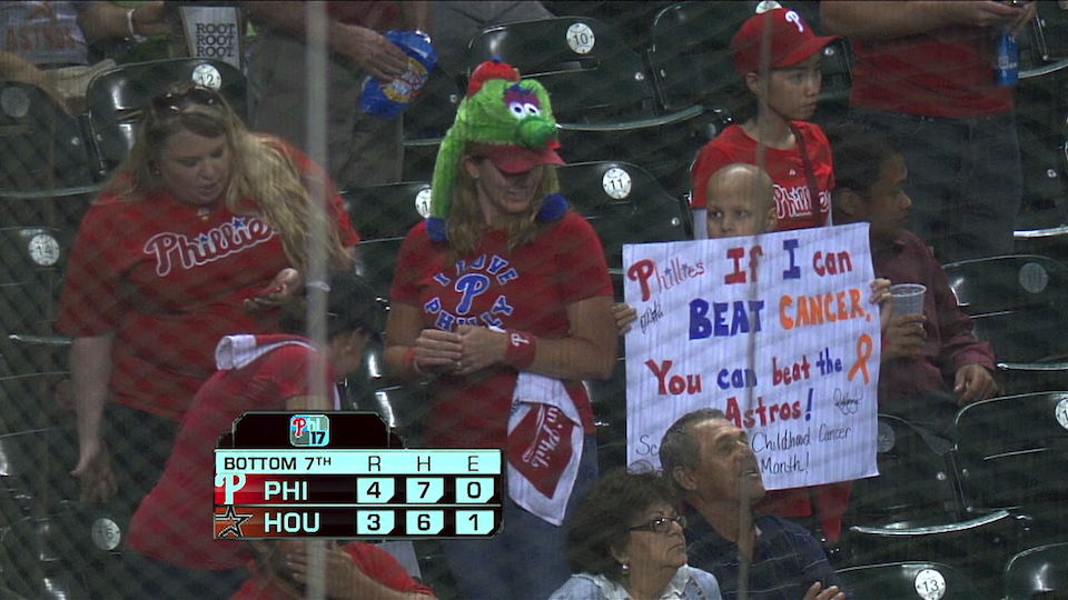 "Kid's Sign At Phillies Game: ""If I Can Beat Cancer, You Can Beat The Astros"""