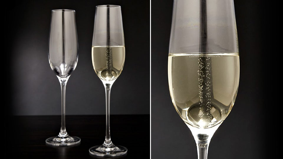 Laser-Etched Champagne Flutes Bubble Forever, Or At Least Until Empty