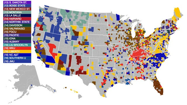The Most Accurate Map of NCAA College Basketball Fandom