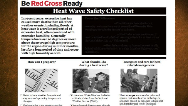 Heat Wave Safety Checklist from the Red Cross