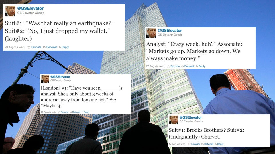 Goldman Sachs Hunts Down Its Elevator Tweeter