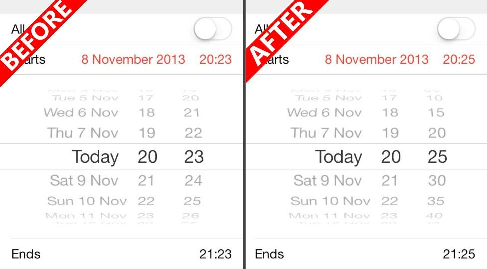 Get 5 Minute Increments in iOS 7's Calendar With a Double-Tap