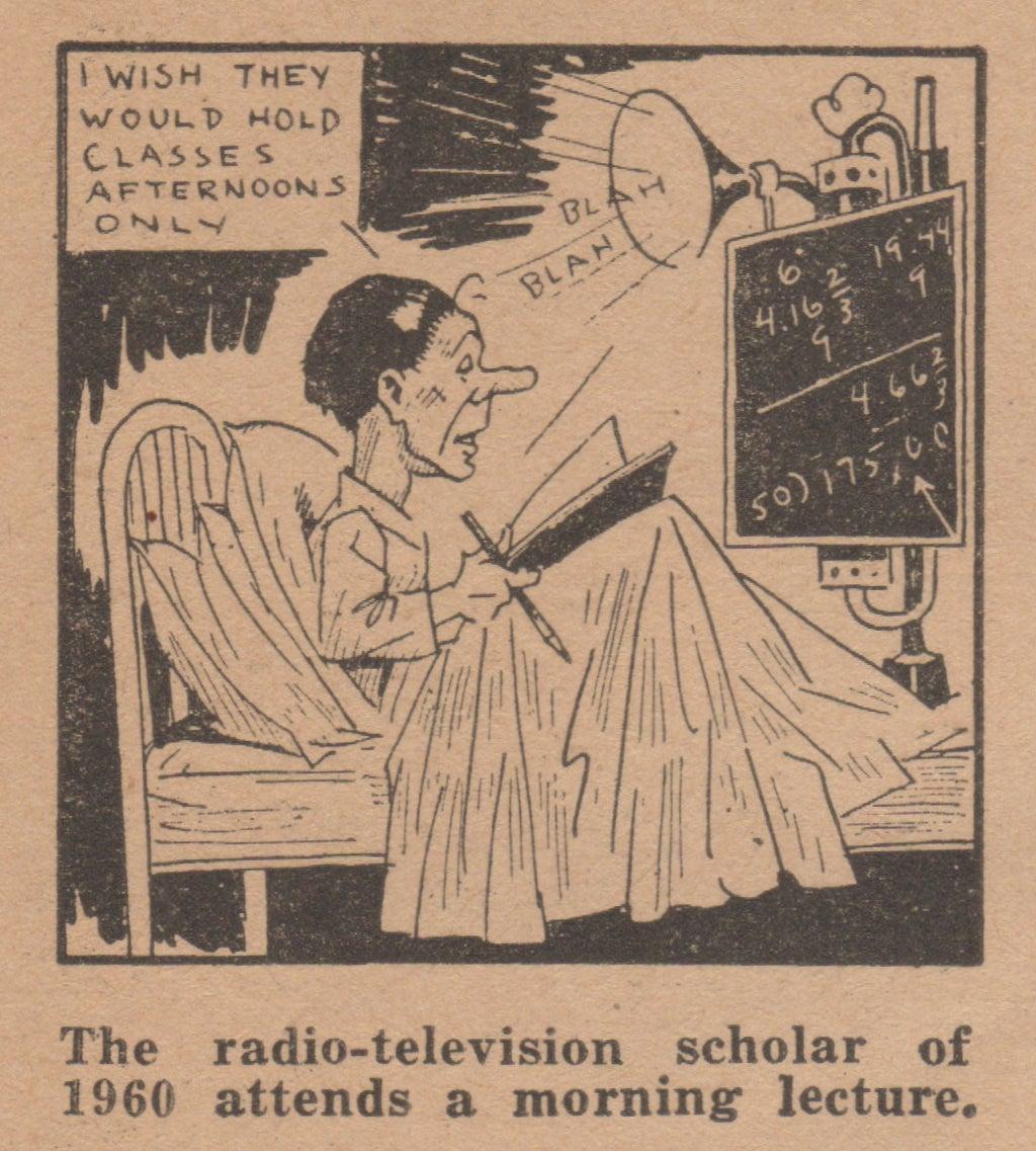 ''En radio-televisionsstudent deltar i en morgonföreläsning år 1960.''