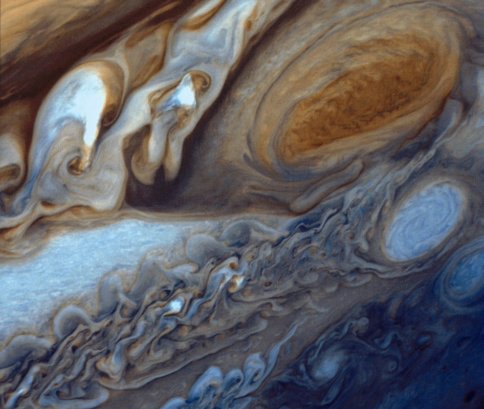 Jupiter's Great Red Spot Looking Like a Swirl of Cream in Your Coffee