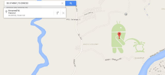 Google Maps Shows an Android Robot Taking a Big Pee on the Apple Logo