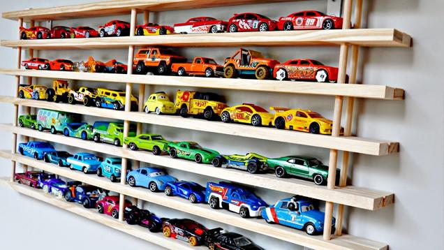 Toy Car Rack : Turn a shoe rack into toy car wall display lifehacker