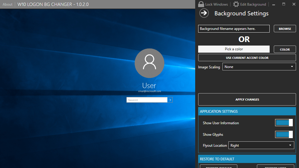 This utility can change your windows 10 login image for Change windows