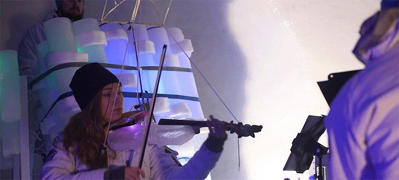 A Warm-Blooded Sculptor Built an Entire Band's Instruments Out of Ice