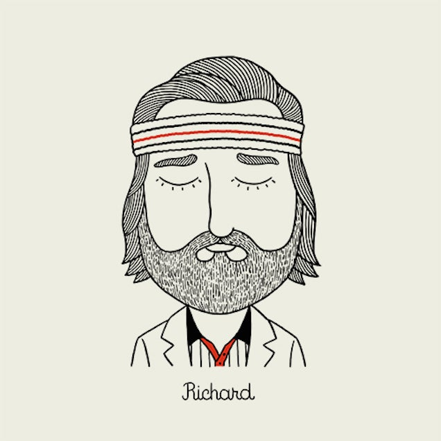 Illustrations of characters from Wes Anderson movies