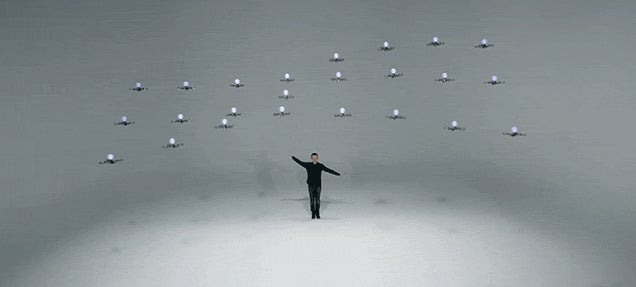 Watch the Mesmerising Magic of 24 Flying Drones Dancing at Once