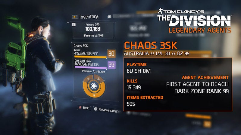 First Player To Reach Level Cap In The Division Does It In 130 Hours