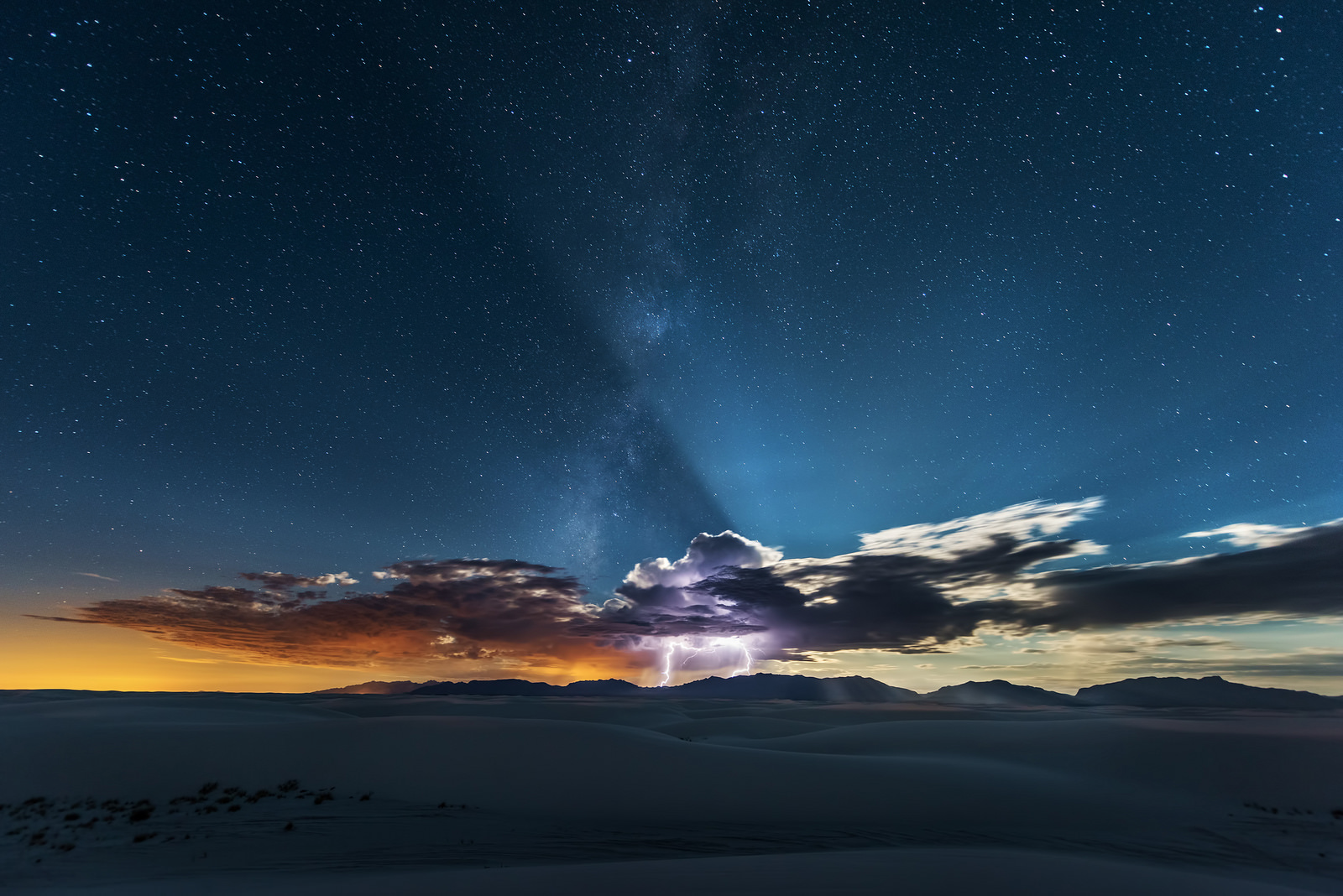 A White Sands Lightning Strike Separates The Heavens And The Earth