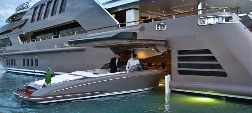Garages For Boats : A super yacht with garage for smaller boats is