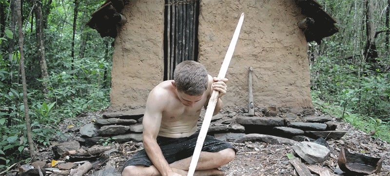 Making a Bow and Arrow Without Any Tools Is Damned Impressive