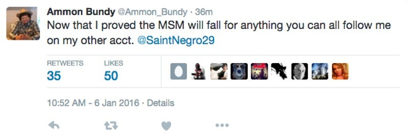 No, Ammon Bundy Didn't Compare His Militia to Rosa Parks (He's Not on Twitter)