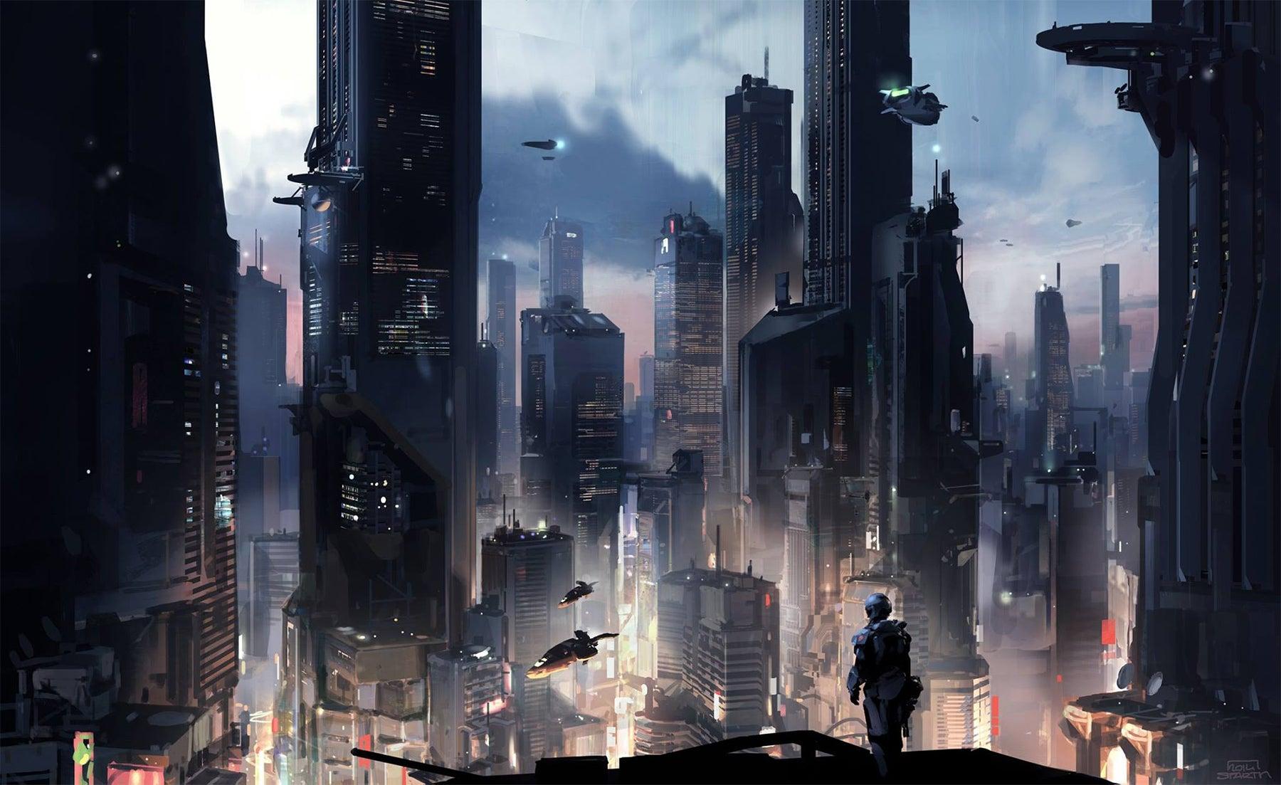 Gigantic Futuristic Metropolis Of Halo 5
