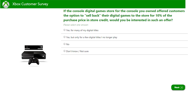 Xbox Survey Wonders If You'd Trade In Your Digital Games For Store Credit
