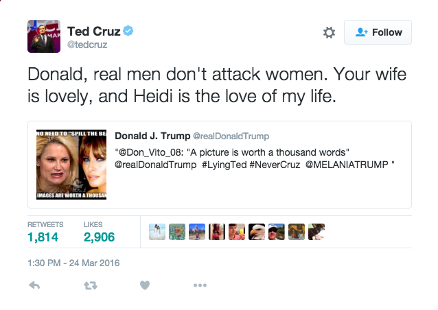 Donald Trump and Ted Cruz Got Into a Late-Night Twitter Fight About Their Wives