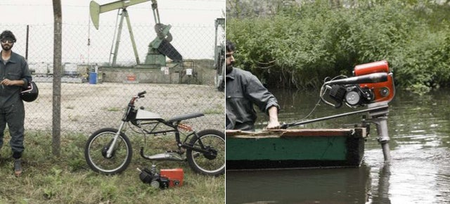This Modified Moped Engine Powers a Boat, Concrete Mixer, and Woodsaw