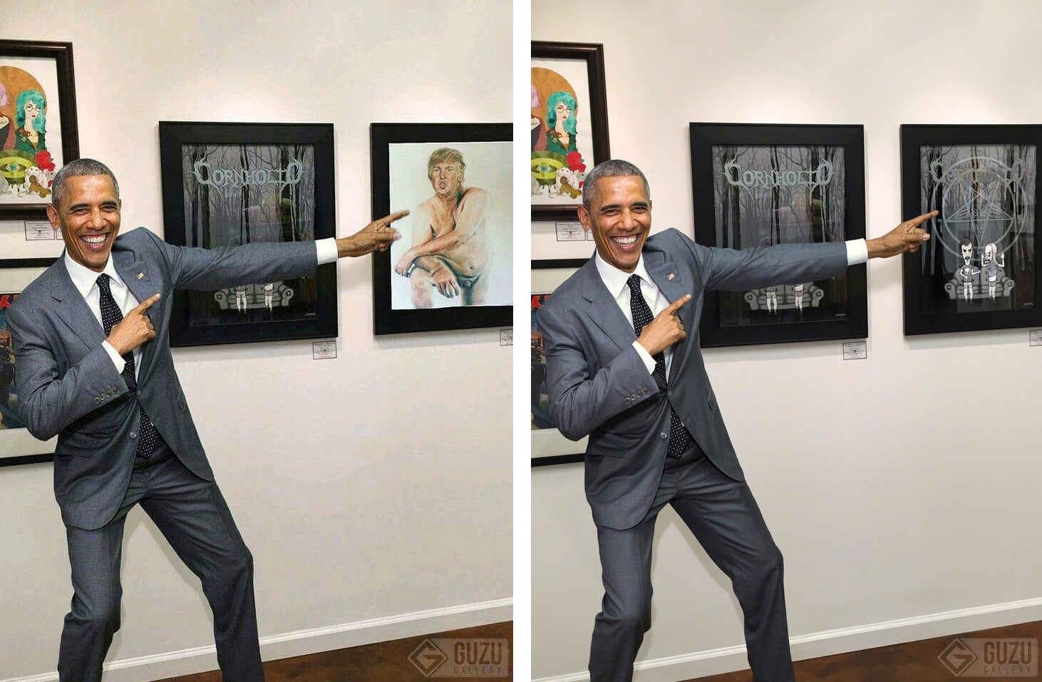 That Photo of Obama Pointing at a Naked Portrait of Trump is Totally Fake (NSFW)