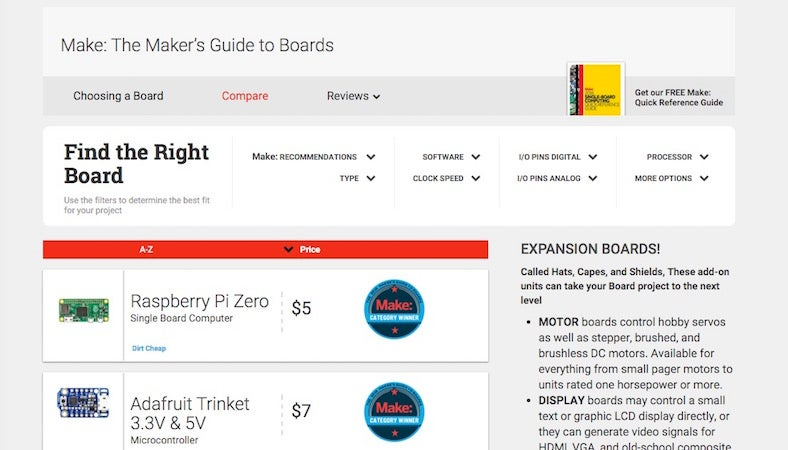 The Maker's Guide to Boards Simplifies Choosing the Right Electronics Board